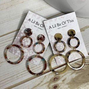 Triple Circle Link Hoop Earrings